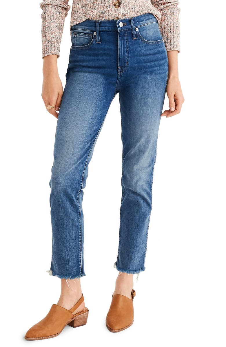 MADEWELL Stovepipe Jeans Fluffy Hem Edition, Main, color, 400