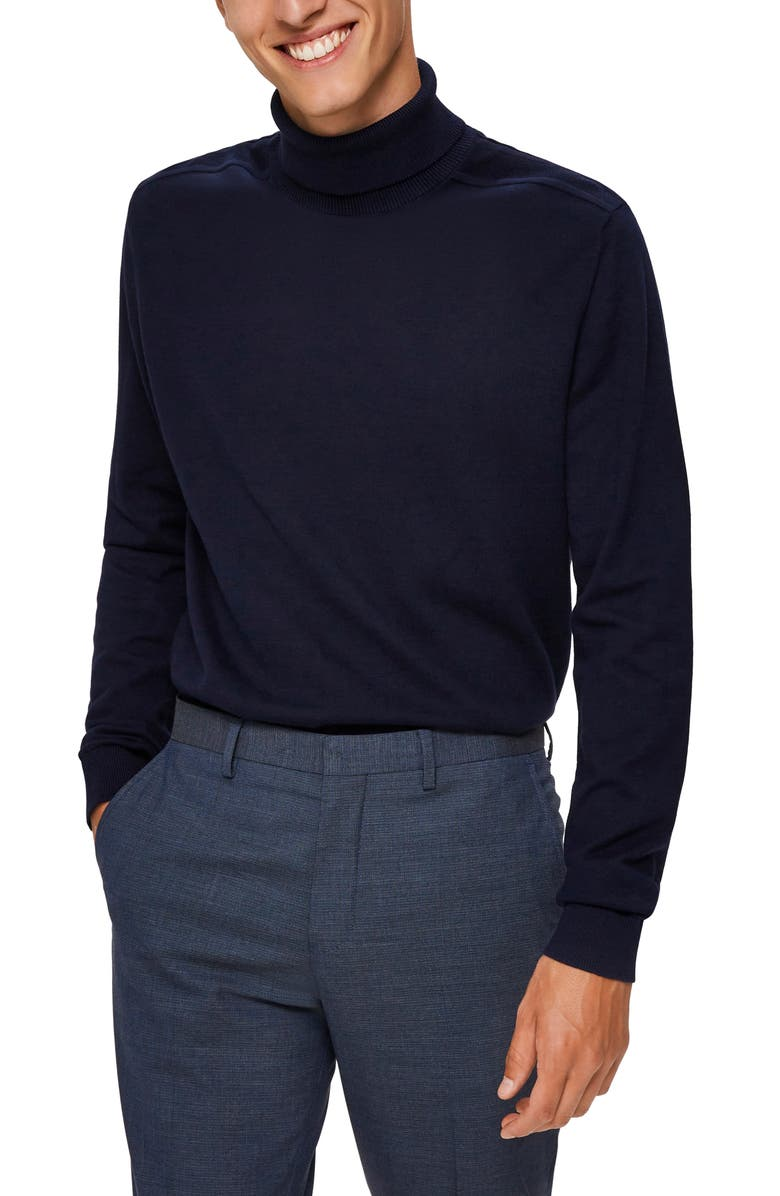 SELECTED HOMME Berg Roll Neck Sweater, Main, color, NAVY BLAZER