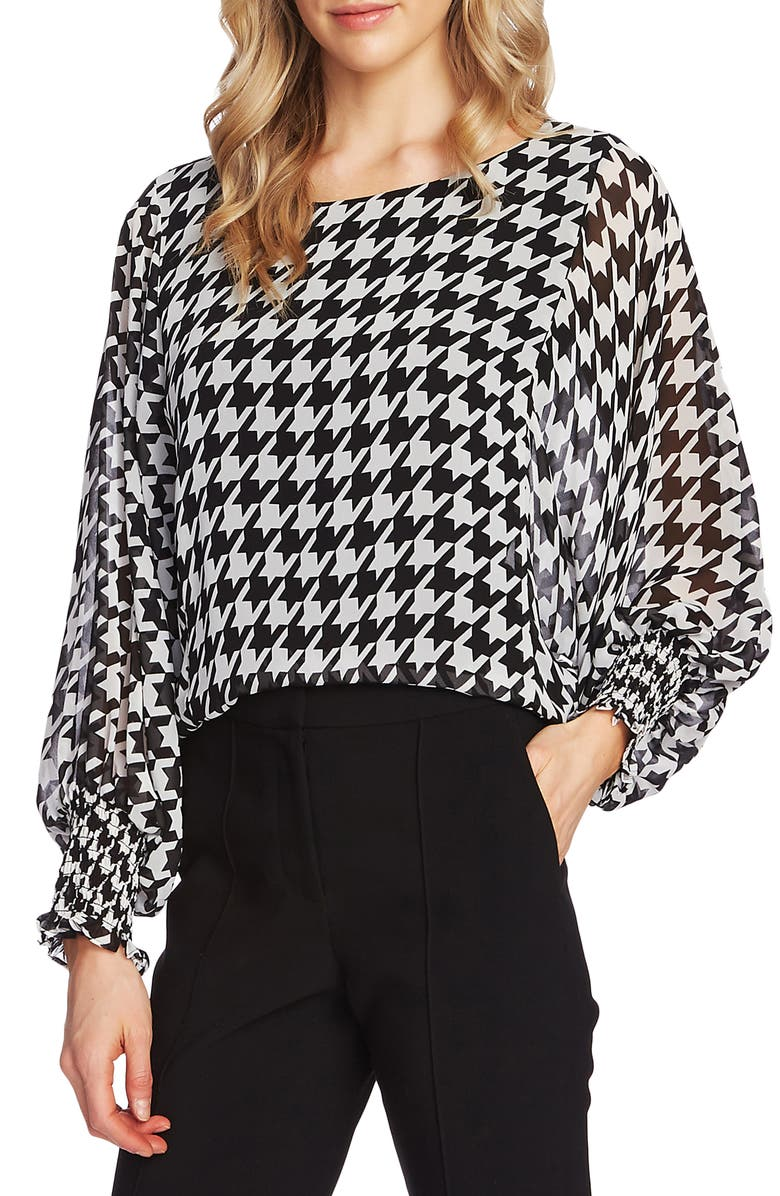 VINCE CAMUTO Houndstooth Blouse, Main, color, 006