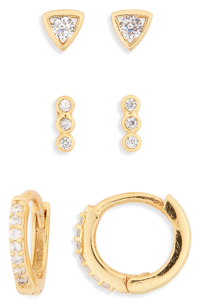 ARGENTO VIVO STERLING SILVER Ear Party Set of 3 Cubic Zirconia Earrings, Main, color, GOLD
