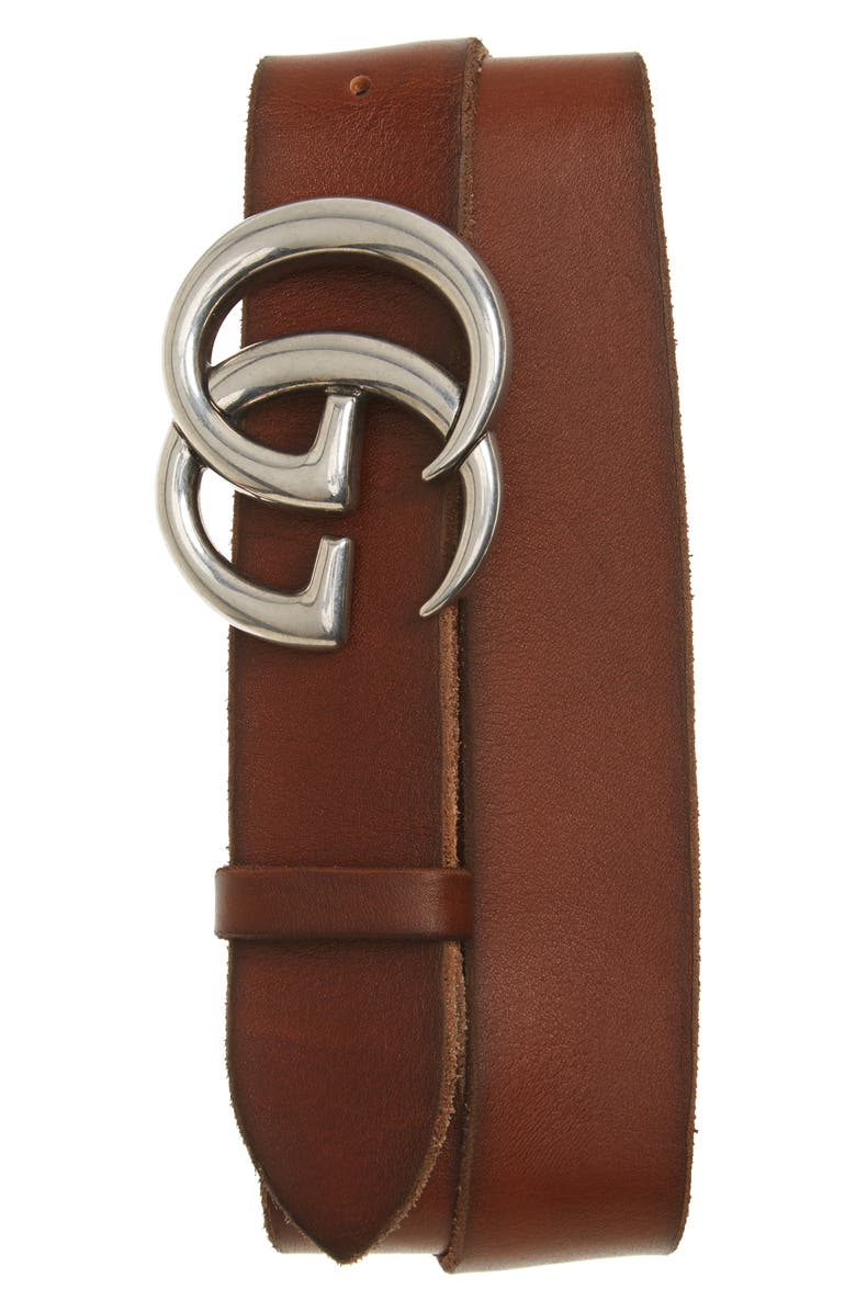 GUCCI Distressed Leather Belt, Main, color, 209