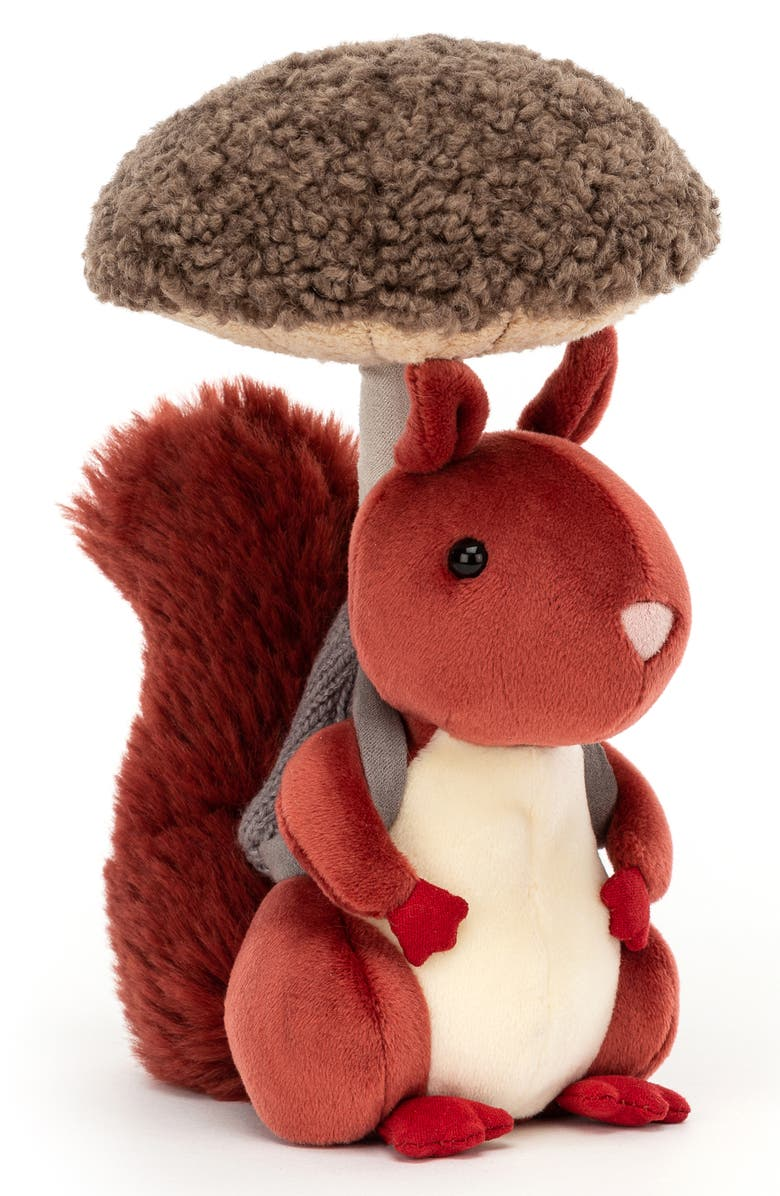 JELLYCAT Fungi Forger Squirrel Stuffed Animal, Main, color, RED