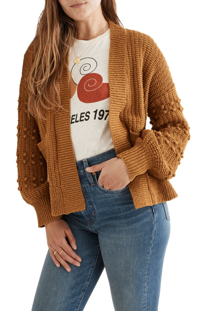 MADEWELL Bobble Cardigan Sweater, Main, color, ANTIQUE GOLD