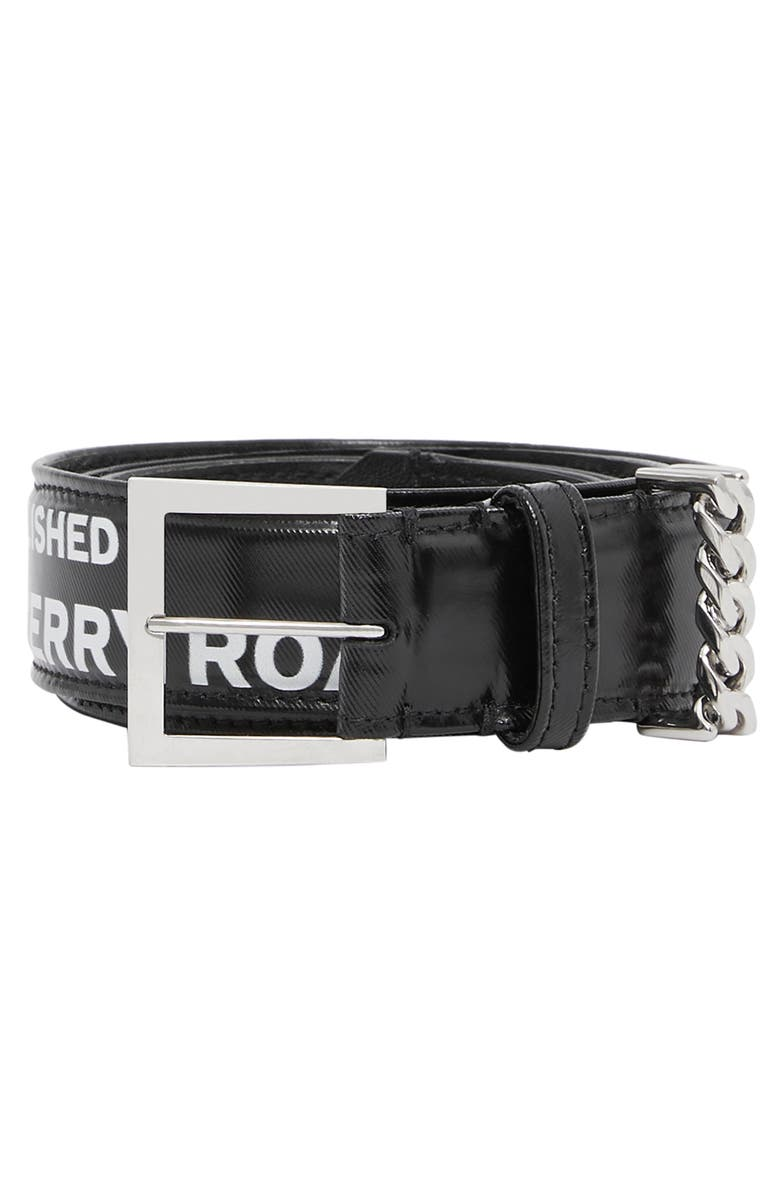 BURBERRY Chain Detail Horseferry Print Coated Canvas Belt, Main, color, BLACK/ PALLADIO