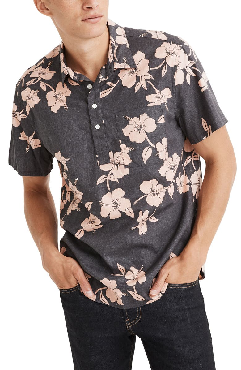 MADEWELL Perfect Lei Away Regular Fit Short Sleeve Button-Up Shirt, Main, color, HIBISCUS VINE