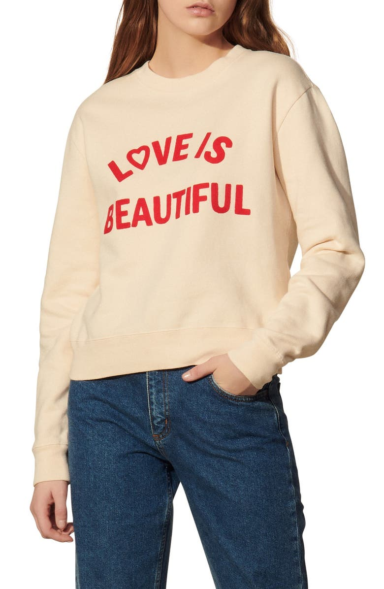 SANDRO Love is Beautiful Embroidered Sweatshirt, Main, color, LIGHT BEIGE