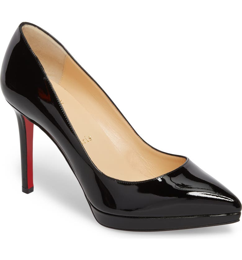 CHRISTIAN LOUBOUTIN Pigalle Plato Pointed Toe Platform Pump, Main, color, 002
