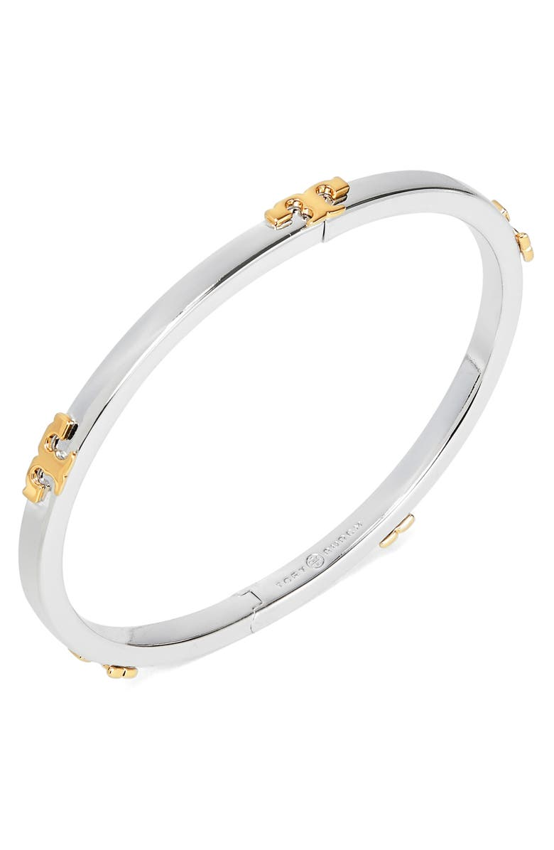 TORY BURCH Serif-T Stackable Bracelet, Main, color, TORY SILVER MIXED METAL