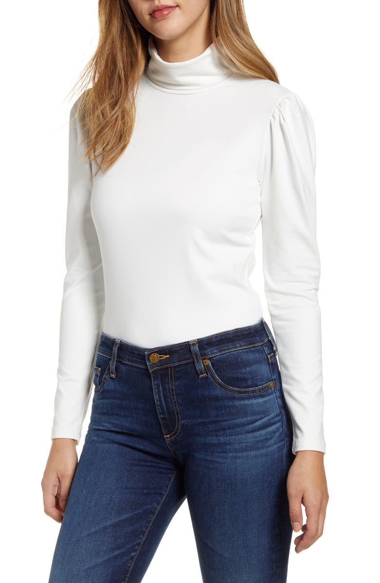 RACHEL PARCELL Puff Shoulder Turtleneck, Main, color, 900