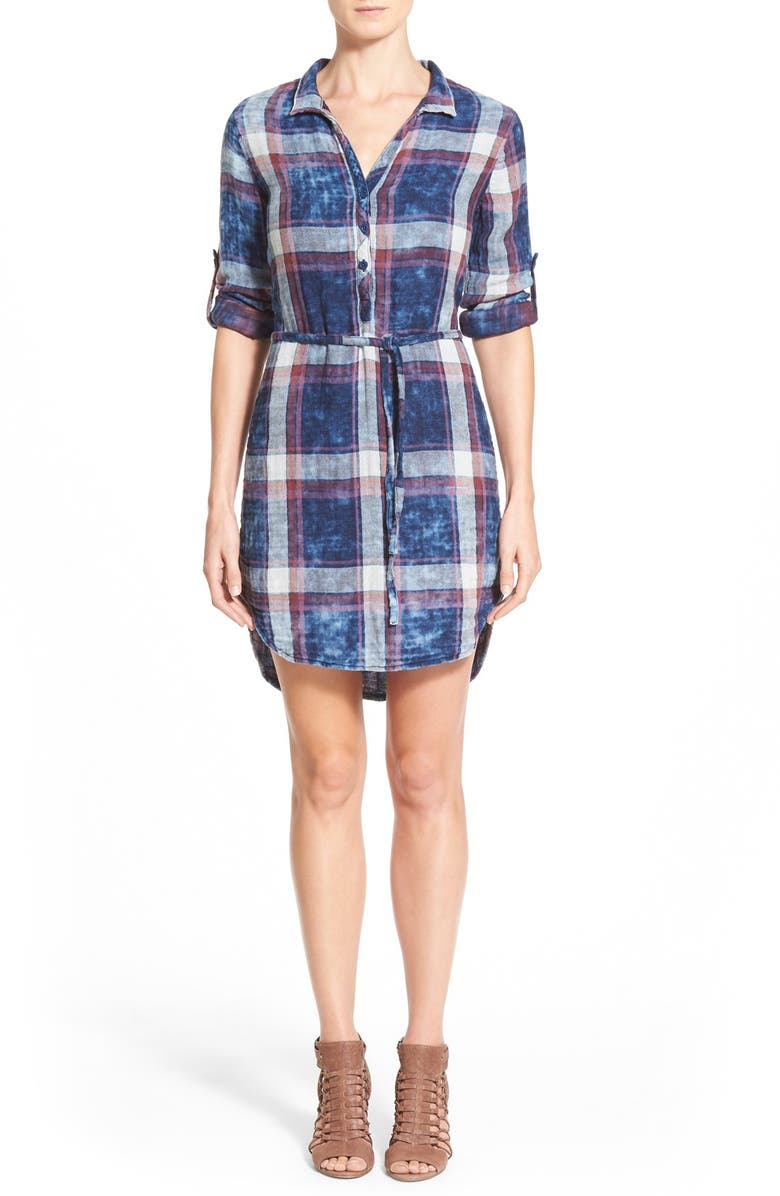 SIDE STITCH Plaid Roll Tab Sleeve Shirtdress, Main, color, 460