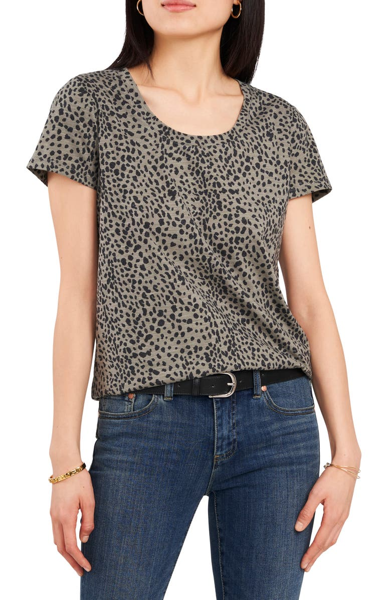 VINCE CAMUTO Animal Print T-Shirt, Main, color, ANTIQUE GREEN