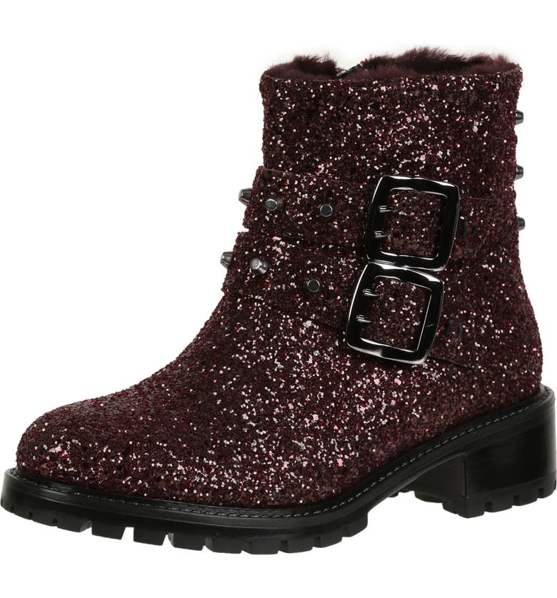 ROSS & SNOW Stefana SP Genuine Shearling Lined Weatherproof Bootie, Main, color, CABERNET GLITTER LEATHER