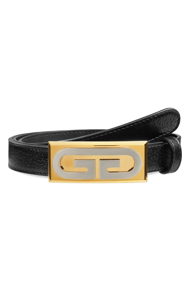 GUCCI GG Plaque Buckle Leather Belt, Main, color, 001