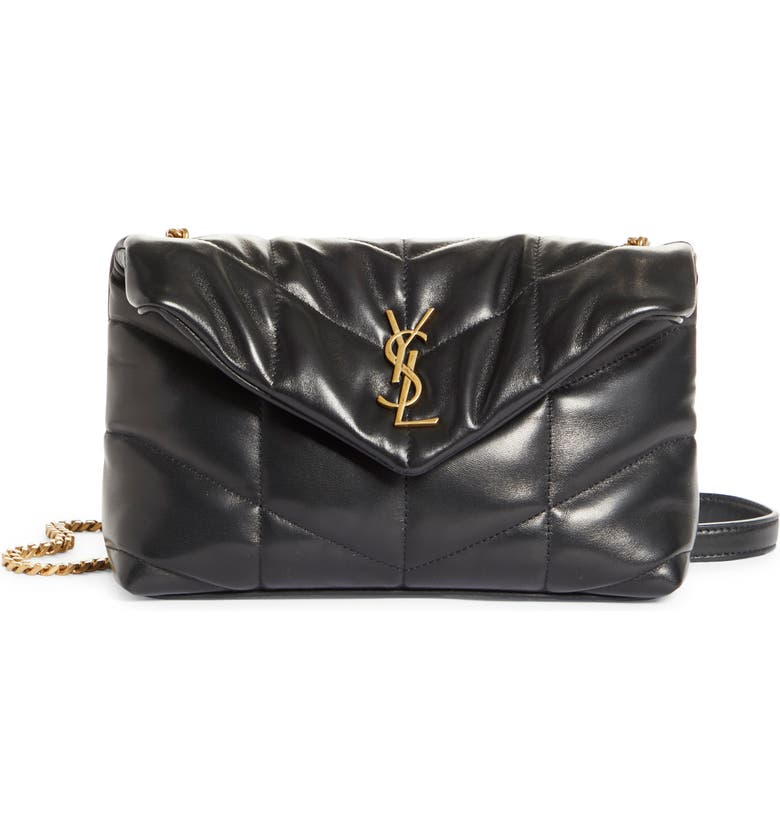 SAINT LAURENT Toy Loulou Puffer Quilted Leather Crossbody Bag, Main, color, NERO