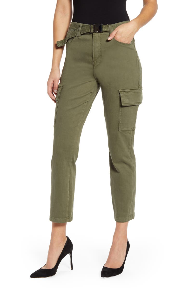 GOOD AMERICAN Good Legs Ankle Cargo Pants, Main, color, 301