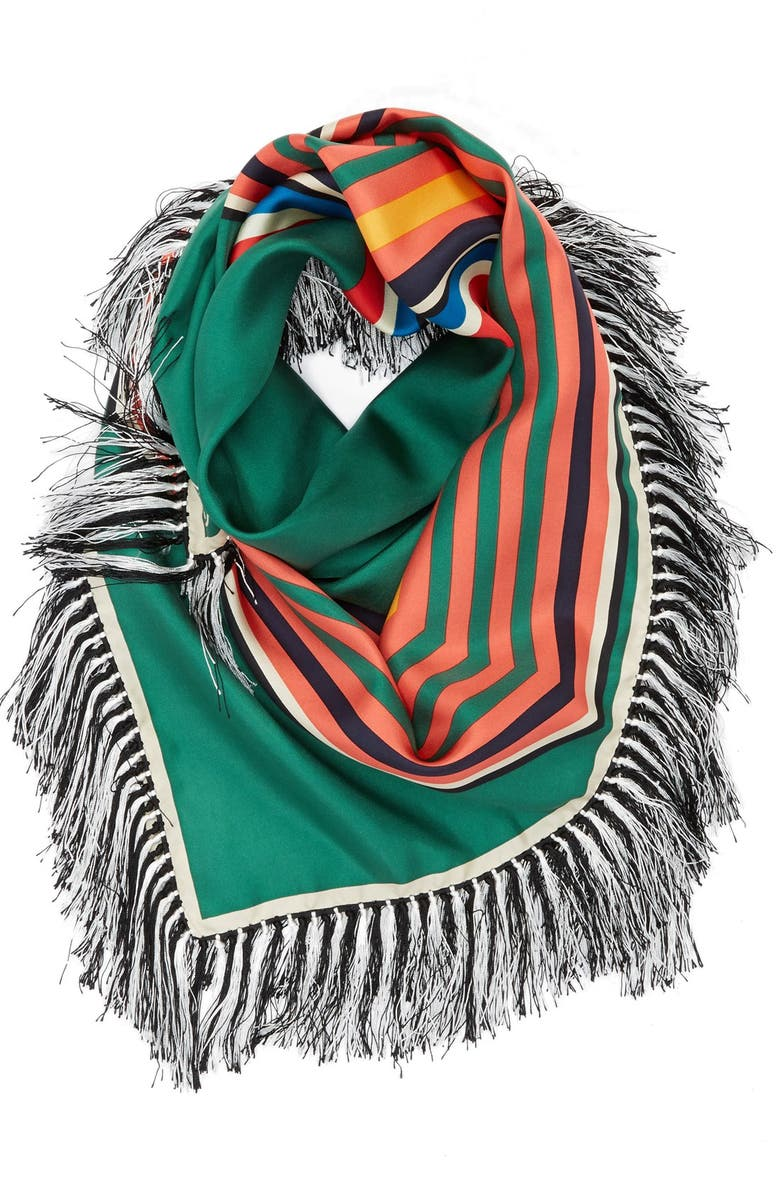 TORY BURCH 'Fret' Fringed Silk Twill Square Scarf, Main, color, GREEN