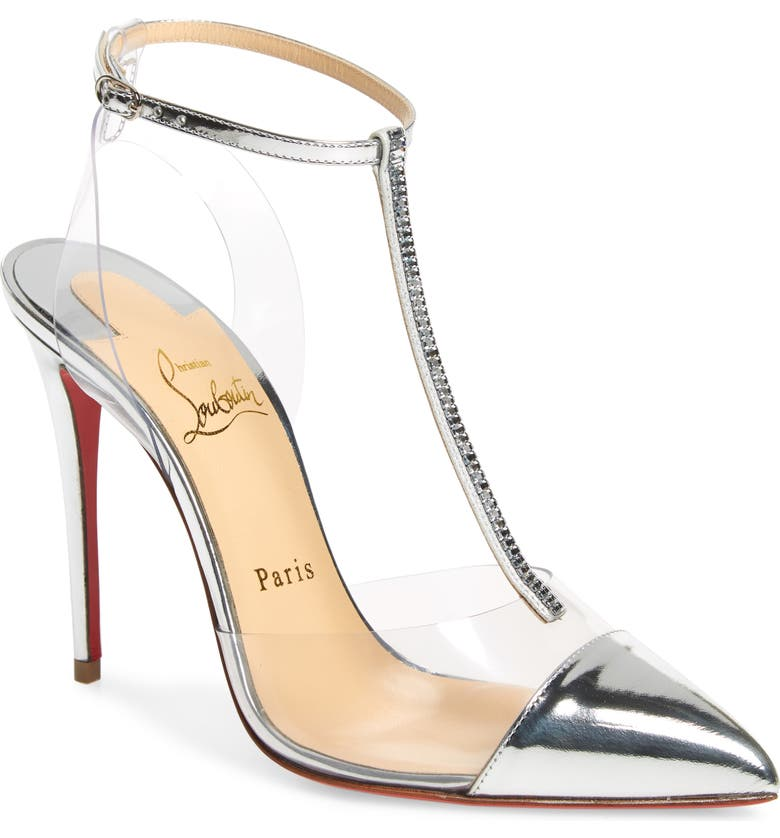 CHRISTIAN LOUBOUTIN Nosy Crystal Embellished T-Strap Pump, Main, color, 040