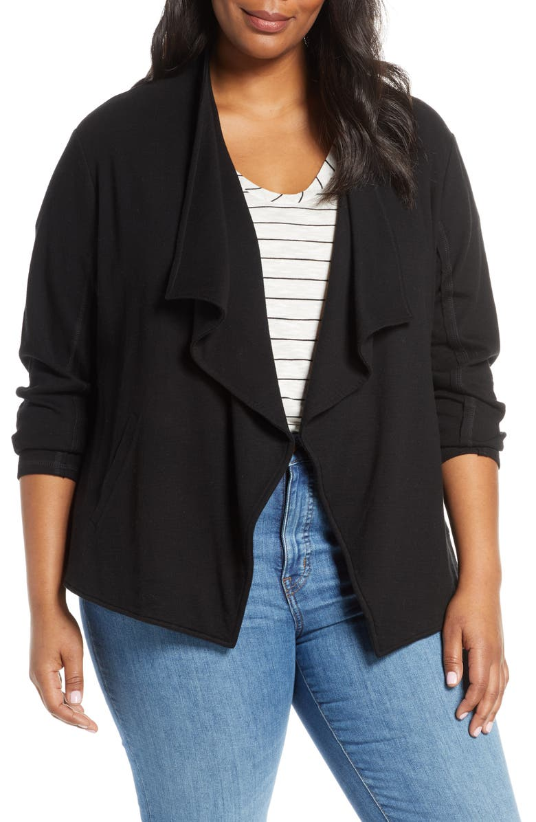 CASLON<SUP>®</SUP> Drape Collar Knit Blazer, Main, color, 001