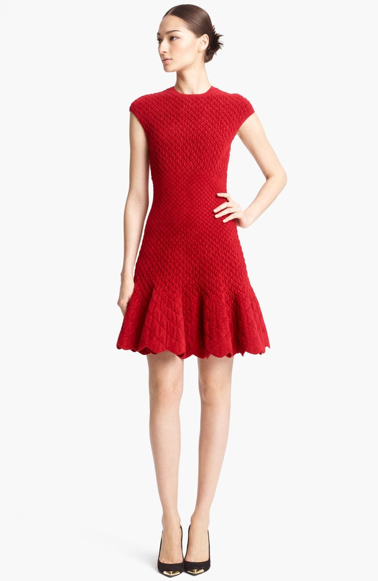 ALEXANDER MCQUEEN Quilted Jacquard Knit Dress, Main, color, 604