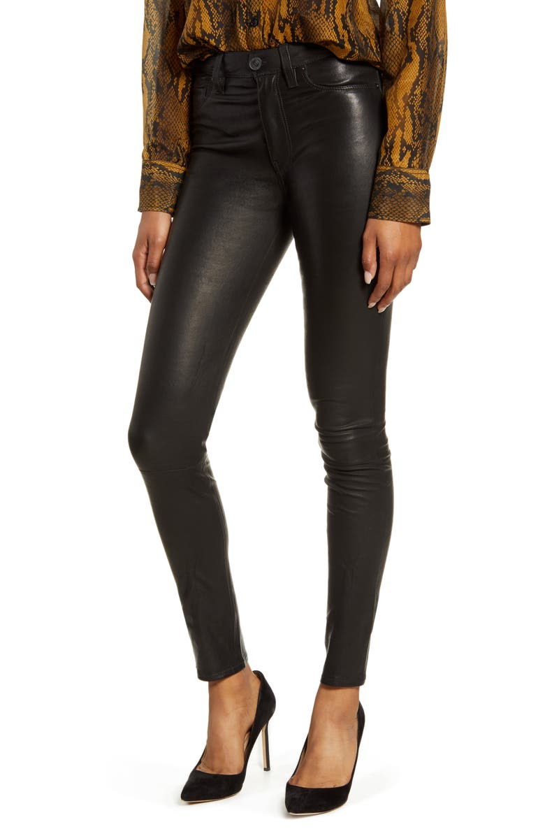 HUDSON JEANS Hudson Barbara High Waist Super Skinny Leather Pants, Main, color, 001
