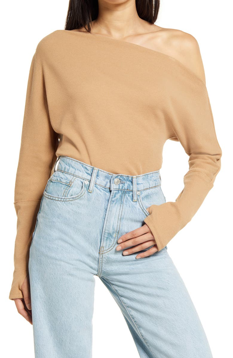 FREE PEOPLE Fuji Off the Shoulder Thermal Top, Main, color, PALE CAMEL