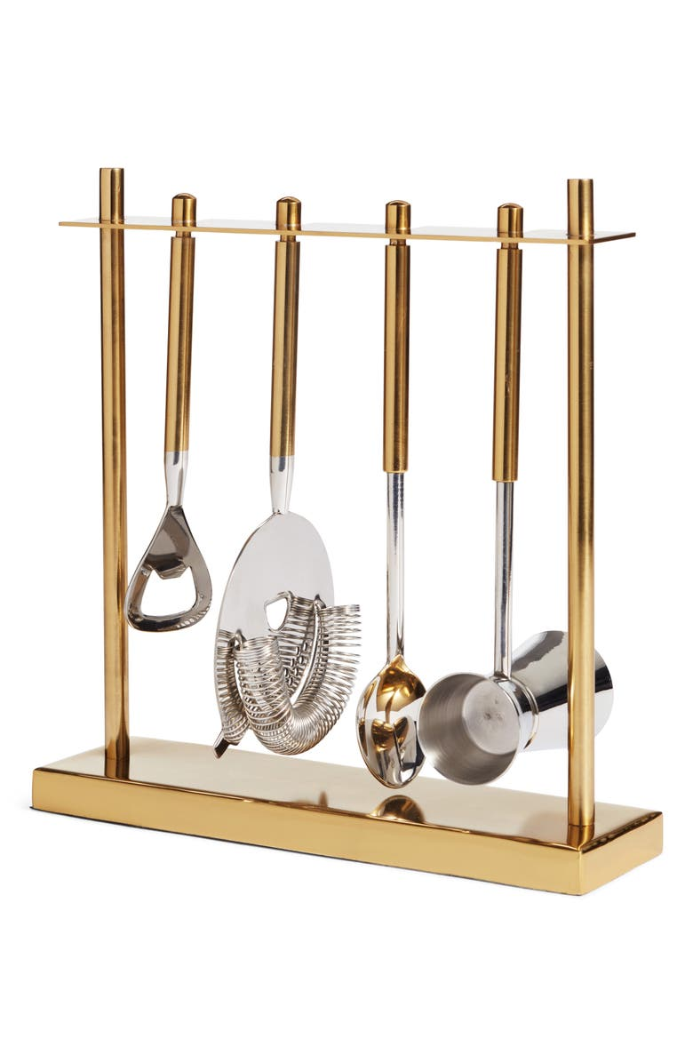 NORDSTROM 5-Piece Stainless Steel Bar Tool Set, Main, color, Gold