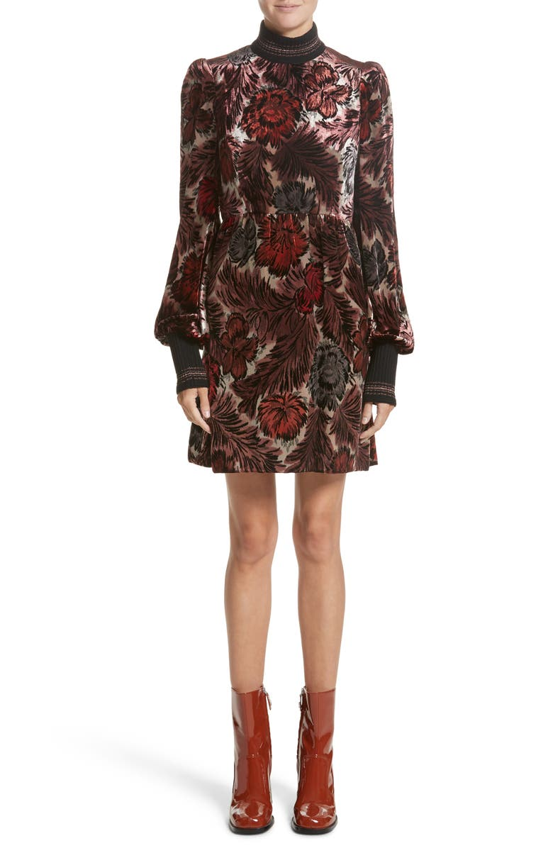 MARC JACOBS Floral Velvet Mock Neck Dress, Main, color, 600