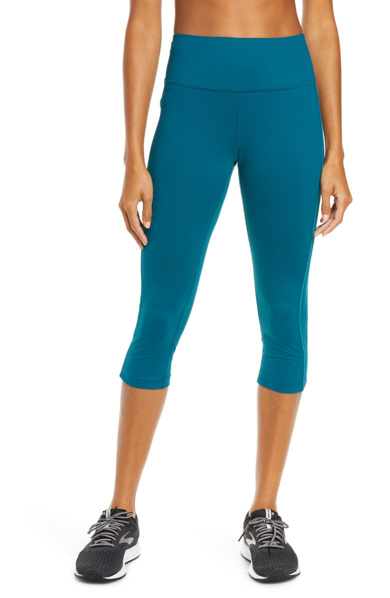 BROOKS Greenlight Capri Leggings, Main, color, DEEP SEA