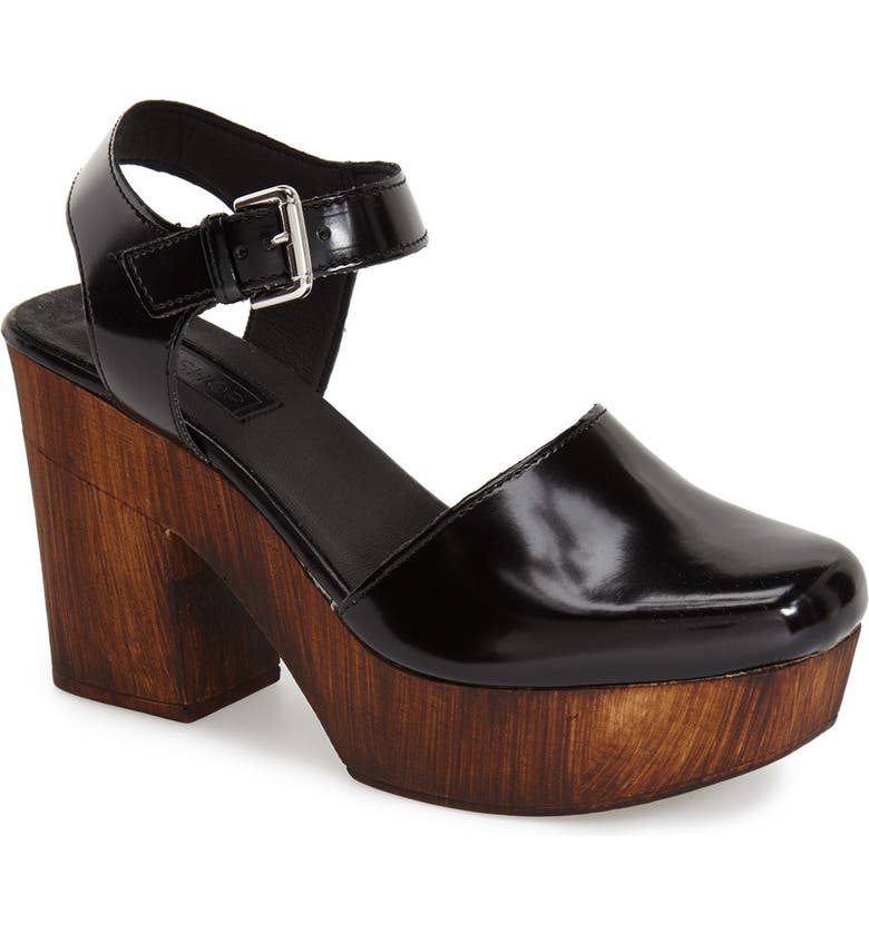 TOPSHOP 'Smile' Wooden Platform Leather Sandal, Main, color, 001