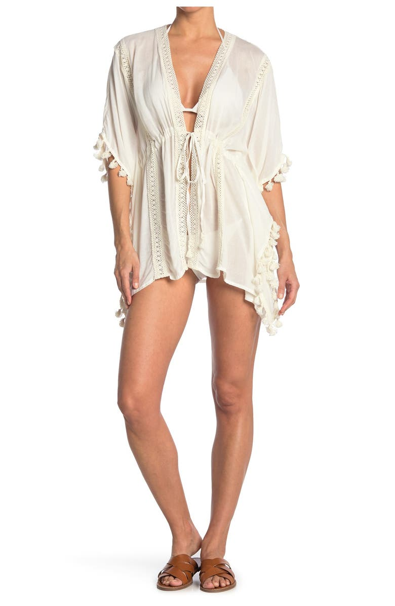 VINCE CAMUTO Lace Insert Swim Cover-Up, Main, color, WHITE