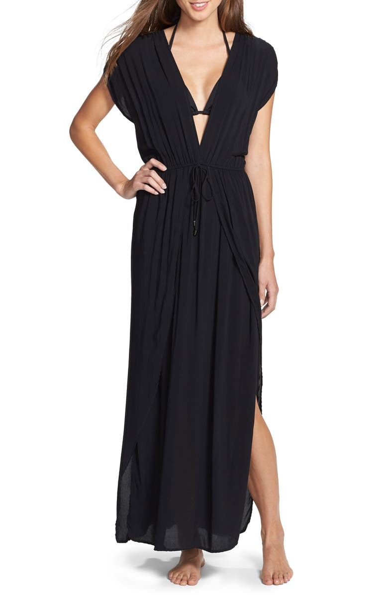 ELAN Deep V-Neck Cover-Up Maxi Dress, Main, color, NO_COLOR