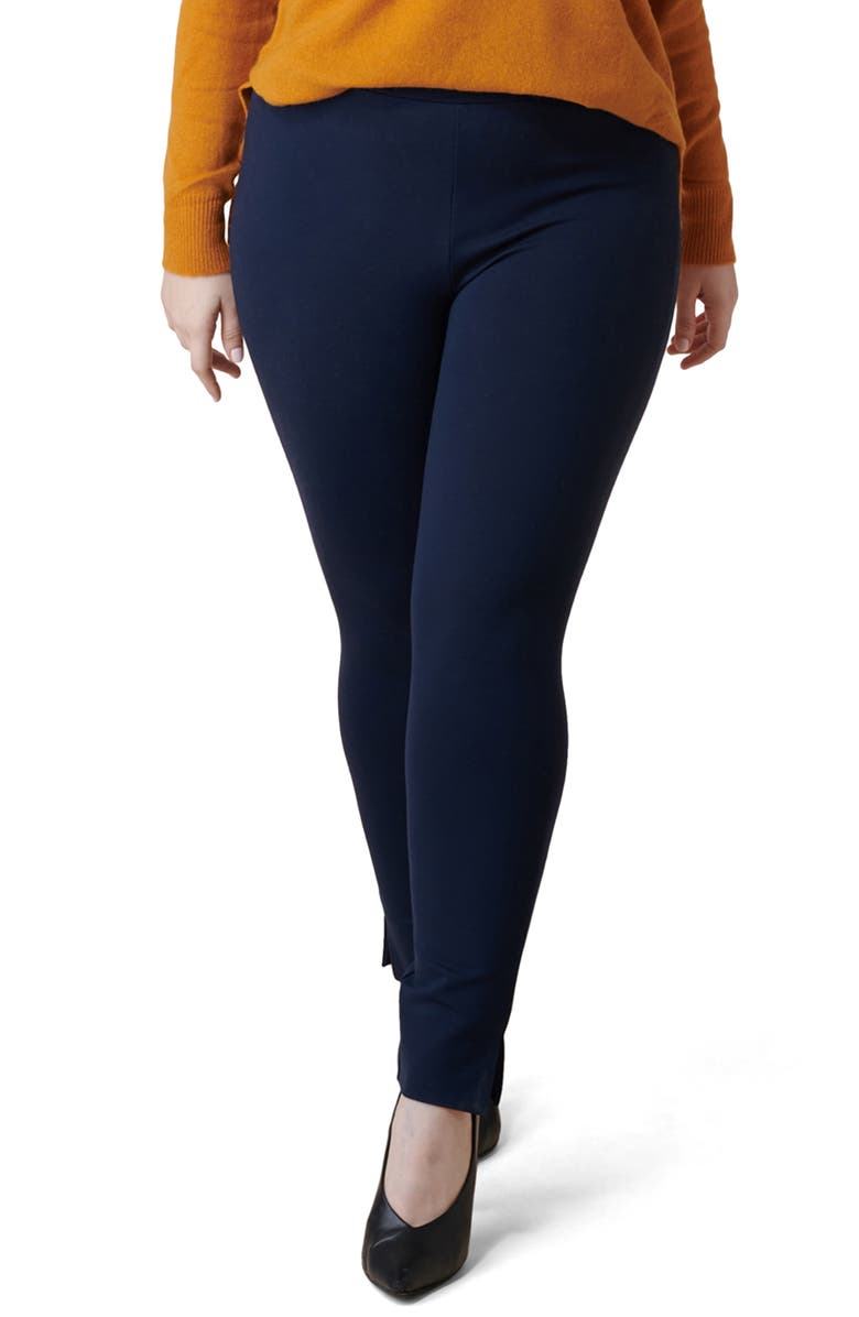 MARÉE POUR TOI Skinny Compression Knit Pants, Main, color, NAVY