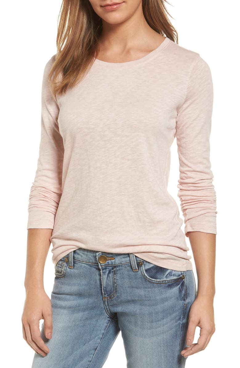 CASLON<SUP>®</SUP> Long Sleeve Crewneck T-Shirt, Main, color, PINK SMOKE