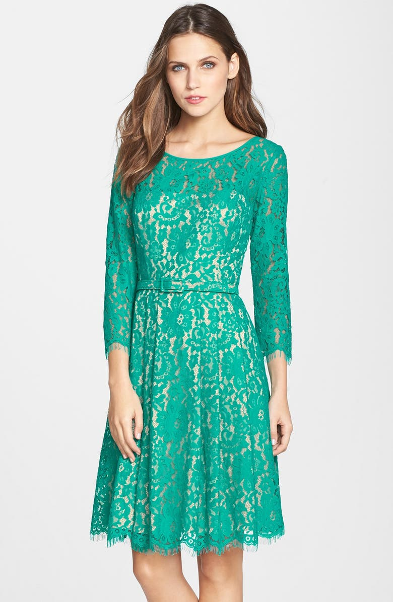 ELIZA J Belted Lace Fit & Flare Dress, Main, color, GREEN