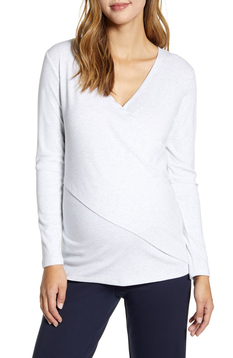 ANGEL MATERNITY Crossover Maternity/Nursing Top, Main, color, WHITE MARL