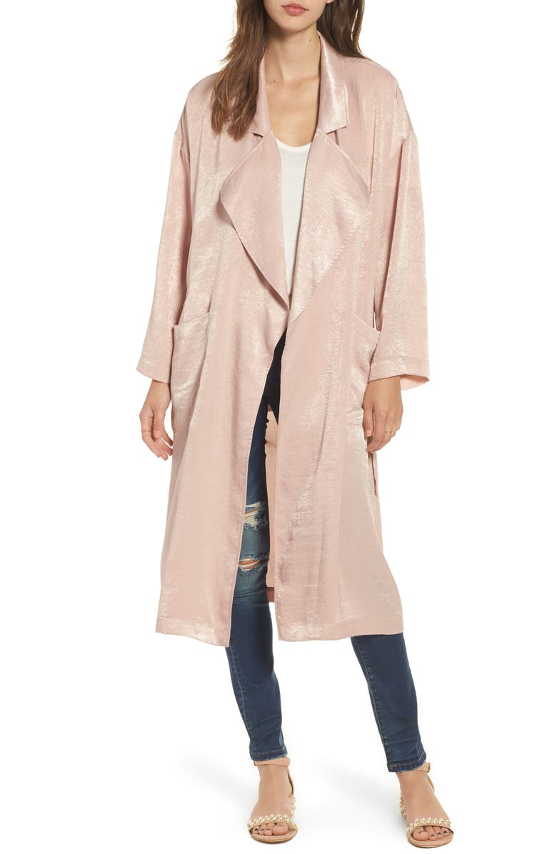ASTR THE LABEL Satin Trench Coat, Main, color, PINK ADOBE