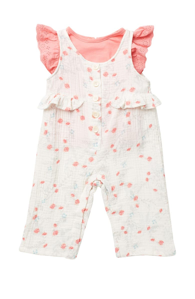 JESSICA SIMPSON Cap Eyelet Sleeve Top & Floral Print Overalls Set, Main, color, FLORAL