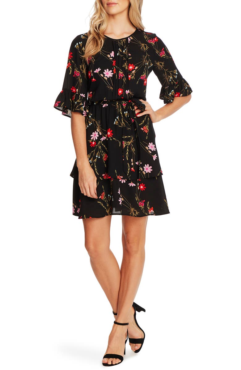 CECE Enchanted Wildflower Ruffle Fit & Flare Dress, Main, color, 001