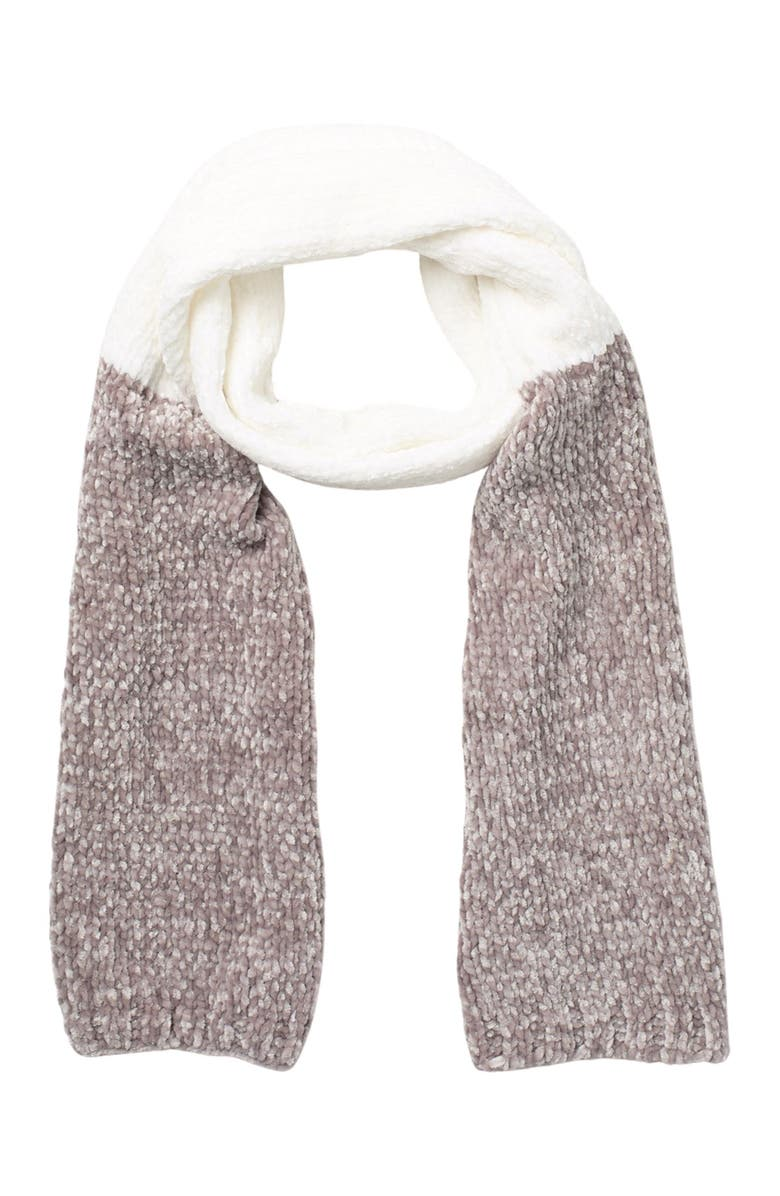 BCBG Two-Tone Cable Knit Scarf, Main, color, IVORY