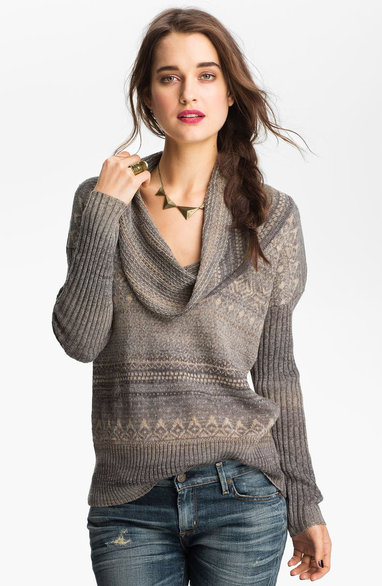 FREE PEOPLE Cowl Neck Nordic Sweater, Main, color, ARITC COMBO