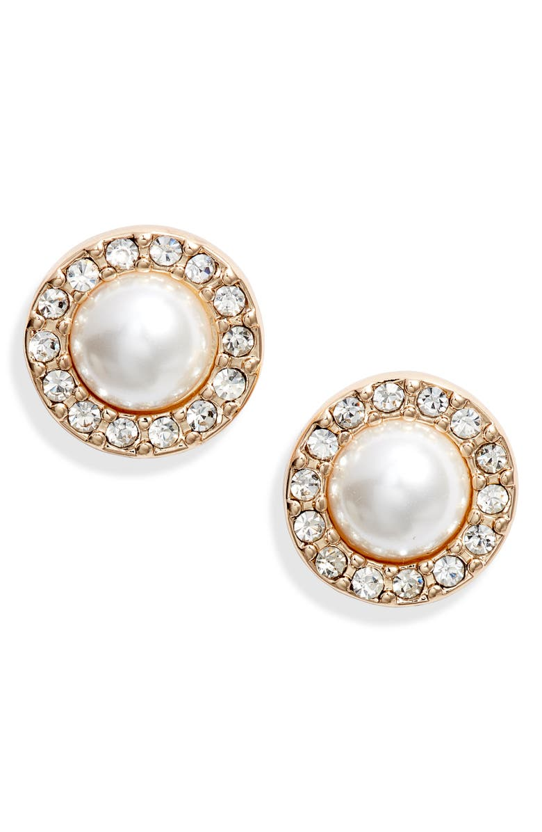 RACHEL PARCELL Pavé Crystal & Imitation Pearl Stud Earrings, Main, color, WHITE PEARL- GOLD