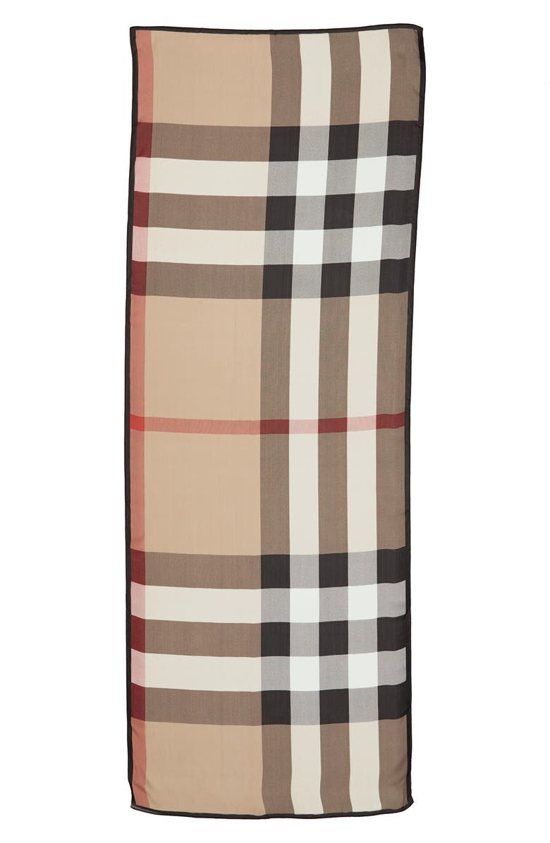 BURBERRY 'Ultra Mega Check' Washed Mulberry Silk Scarf, Main, color, 250