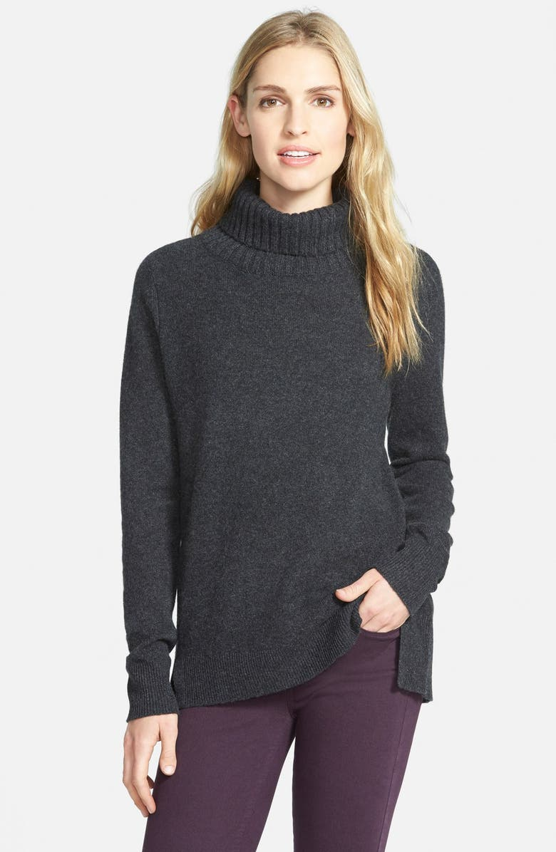 HALOGEN<SUP>®</SUP> Cashmere Turtleneck Sweater, Main, color, HEATHER CHARCOAL
