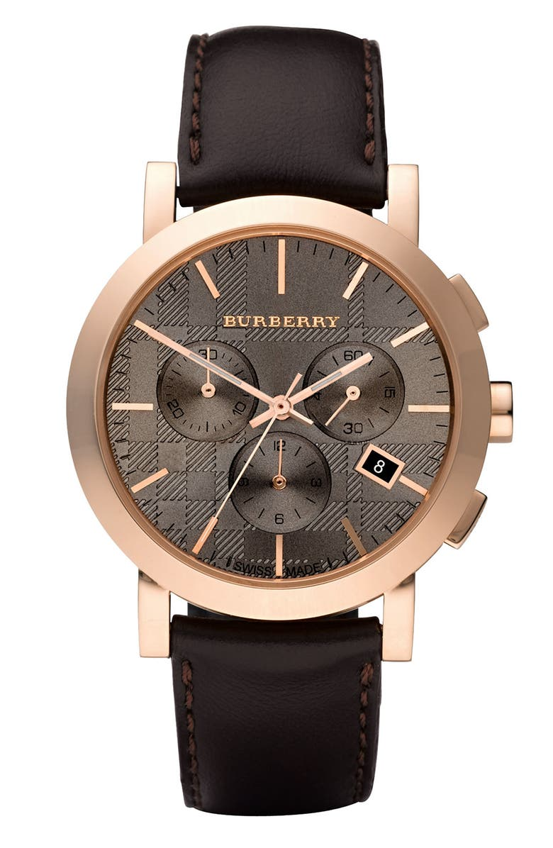 BURBERRY Large Taupe Dial Chronograph Watch, Main, color, 200