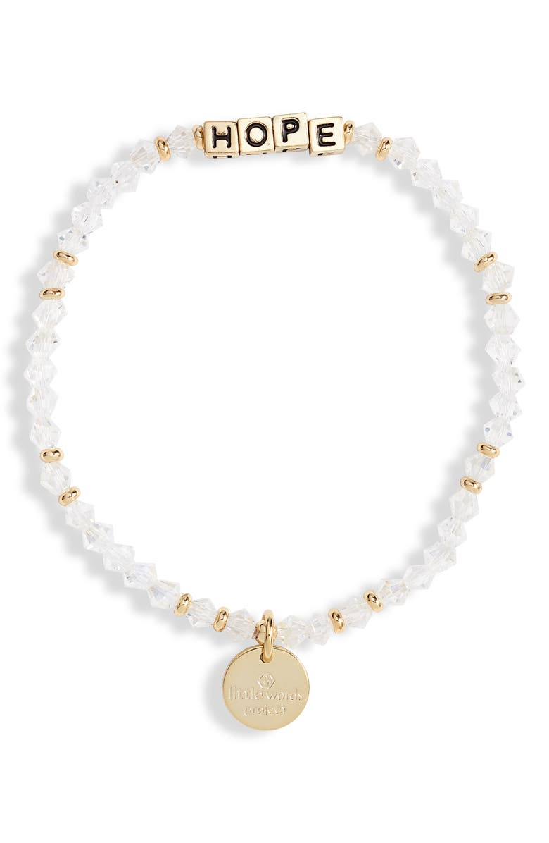 LITTLE WORDS PROJECT Hope Beaded Stretch Bracelet, Main, color, CLEAR/ GOLD