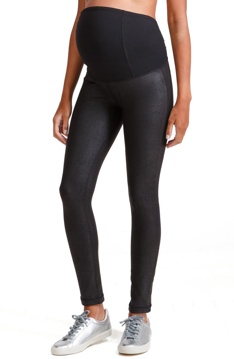 INGRID & ISABEL<SUP>®</SUP> Faux Leather Maternity Leggings, Main, color, JET BLACK