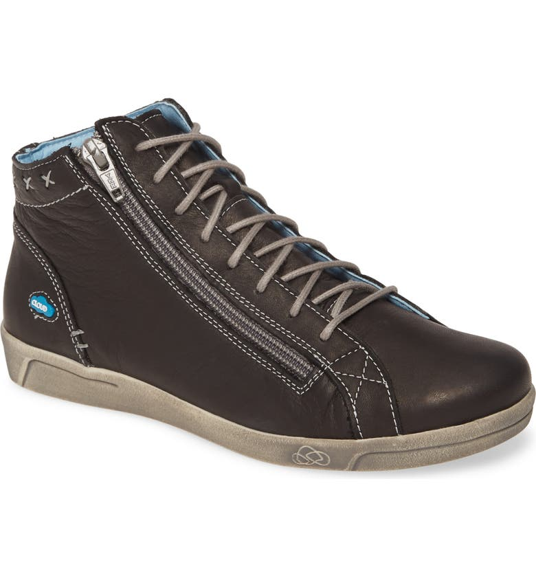 CLOUD Aika High Top Sneaker, Main, color, BLACK BRUSHED SOLE LEATHER