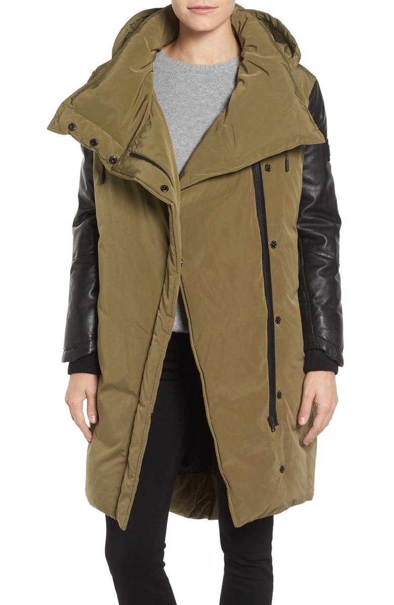 LAMARQUE Oversize Down Coat with Leather Trim, Main, color, MILITARY/ BLACK