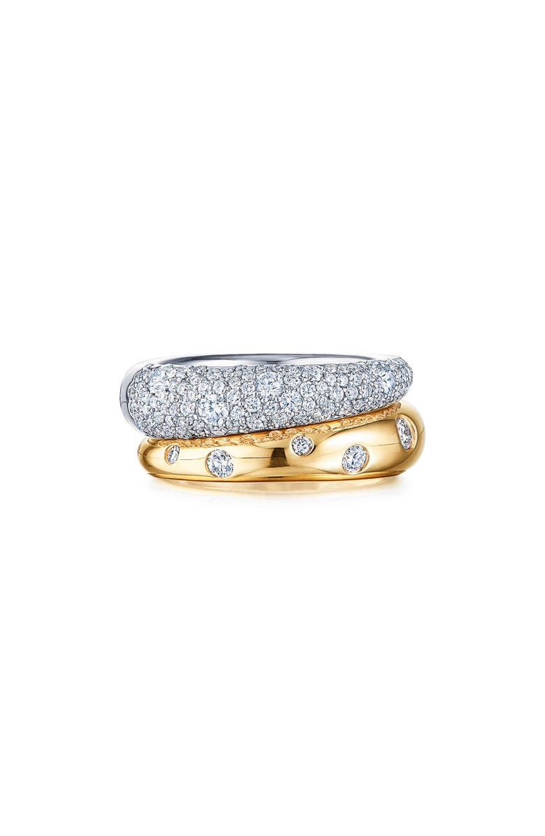 KWIAT Cobblestone Double Ring, Main, color, YELLOW GOLD/ WHITE GOLD