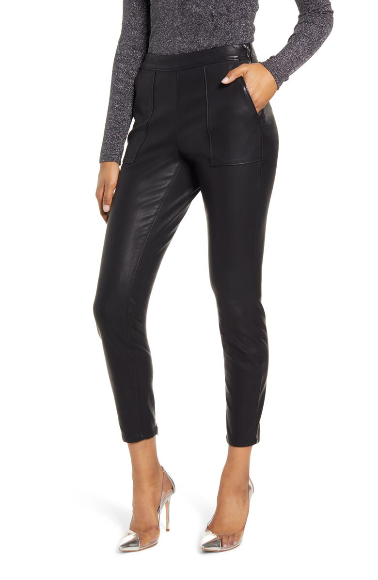BLANKNYC Faux Leather Leggings, Main, color, 001